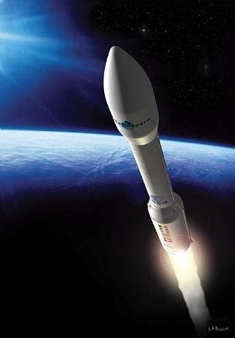Vue d'artiste du lanceur Vega ; crédits CNES/J.Huart