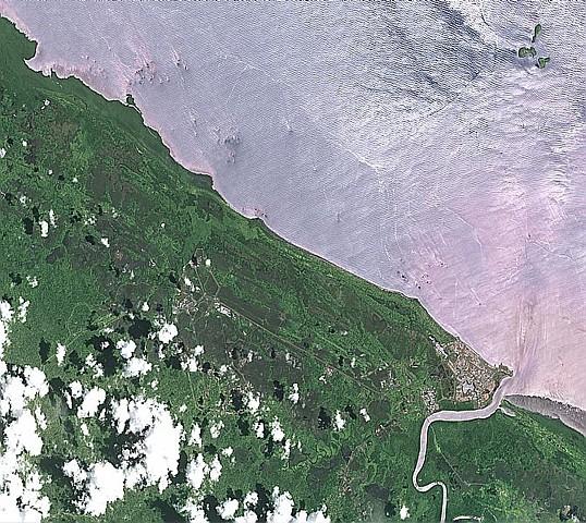 La côté guyanaise vue par Spot : crédits CNES/Dist. Spot Image